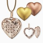 Set pendant heart rose gold with satin ribbon brown