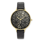 Watch Flower of Life gold leather strap black