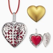 Set of heart pendants with satin ribbon red