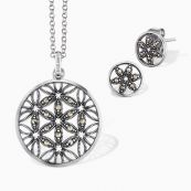 Set Flower of Life: Necklace with ear studs silver with marcasite