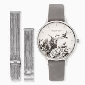Set Watch Flower silver with nubuk leather strap and interchangeable mesh strap silver