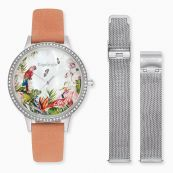 Set watch Paradise silver with zirconia coral nubuck leather and interchangeable strap mesh silver