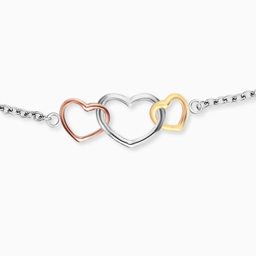 Bracelet 3 Hearts silver Tricolor