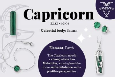 Zodiac sign Capricorn & the matching Powerful stone malachite